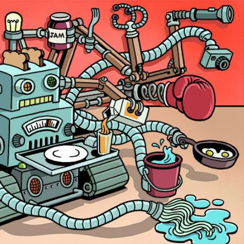 Cartoon of the future multitasking robot