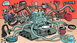 Cartoon of the future multitasking robot