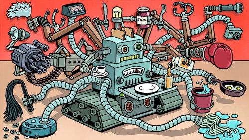 Desenho animado do futuro robô multitarefa