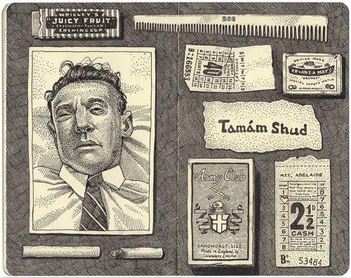 Ilustração narrativa do caso de mistério não resolvido de Tamam Shud