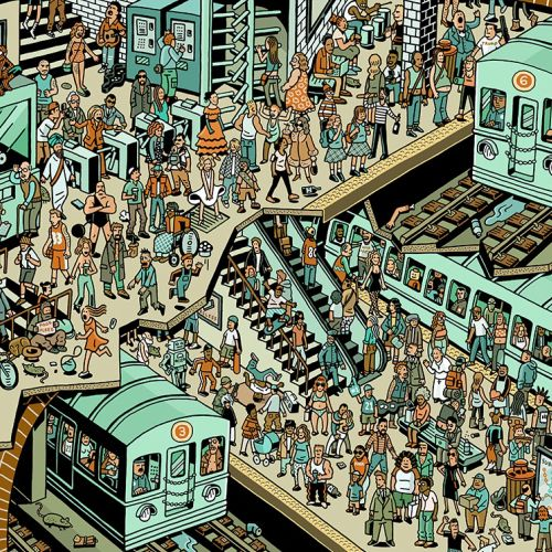 Illustration of crowd in railway station