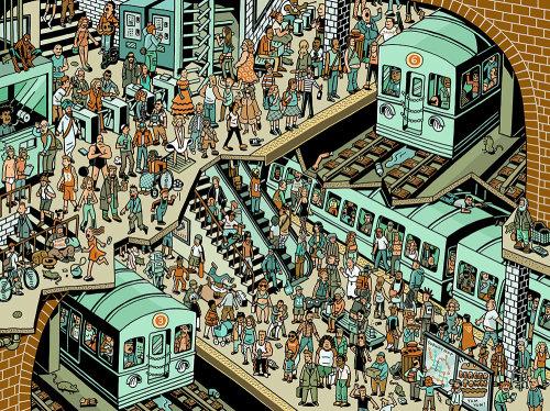 Ilustração da multidão na estação ferroviária