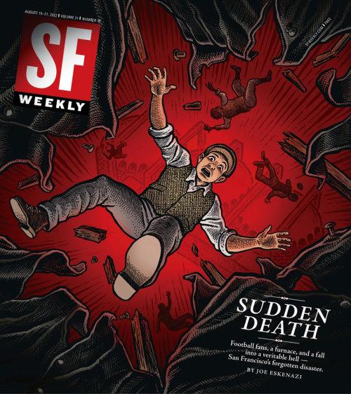 Arte da capa da revista SF Weekly sobre Morte Súbita