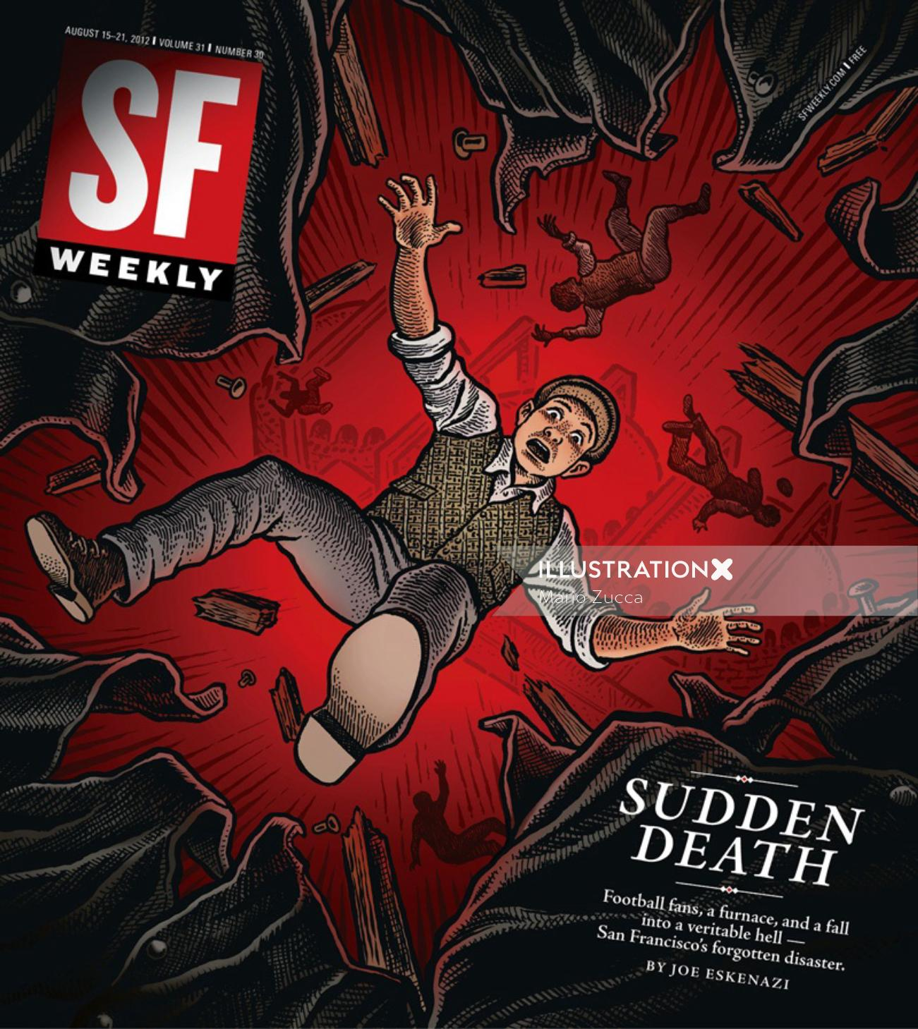 SF Weekly magazine's cover art of Sudden Death