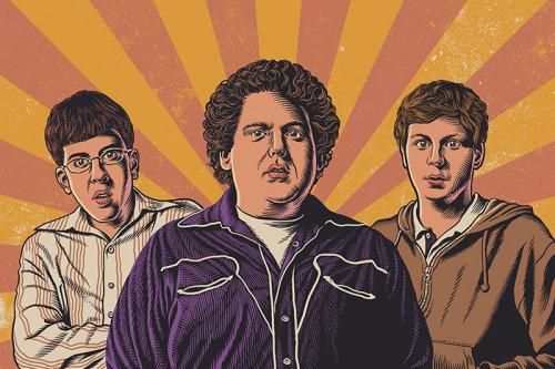 Ilustração dos atores do filme Superbad