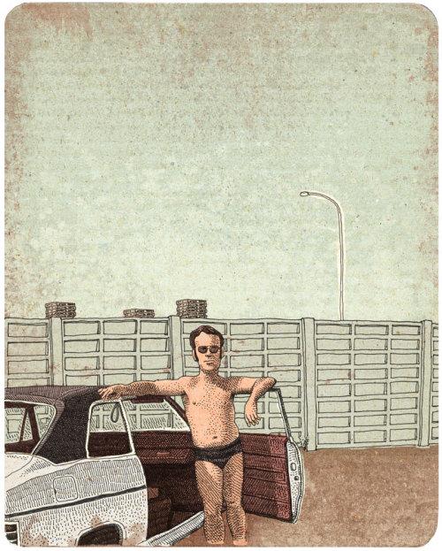 Ilustração retrô de pai e seu Ford Taunus