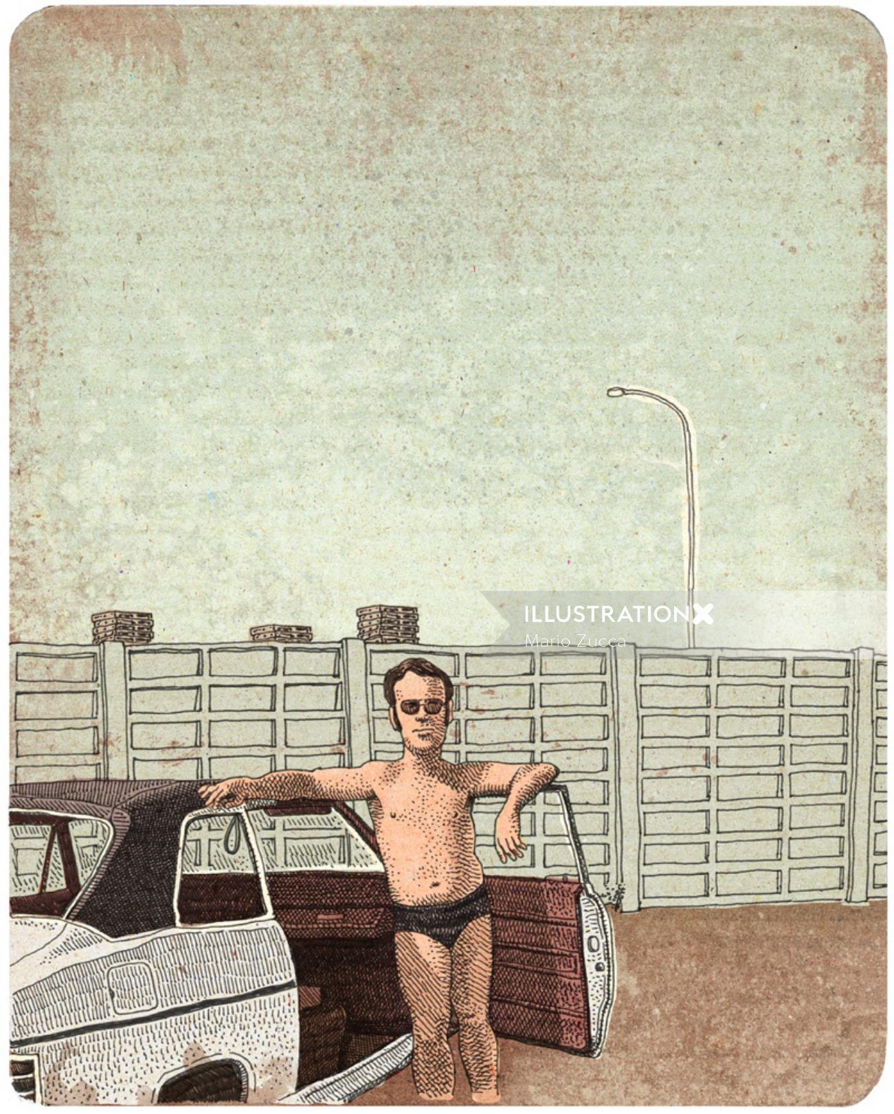 Retro illustration of Dad & His Ford Taunus