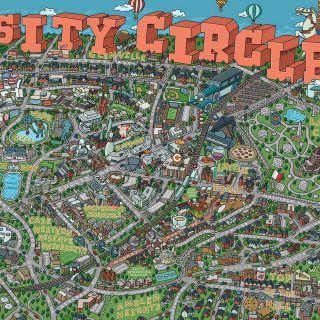 Highly detailed map illustration of University Circle area