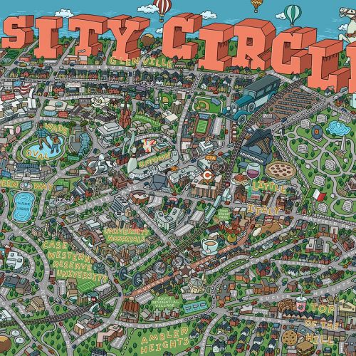 Highly detailed map illustration of University Circle area
