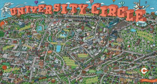 Ilustração de mapa altamente detalhada da área University Circle