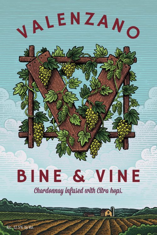 Hand lettering for Valenzano Bine & Vine Label
