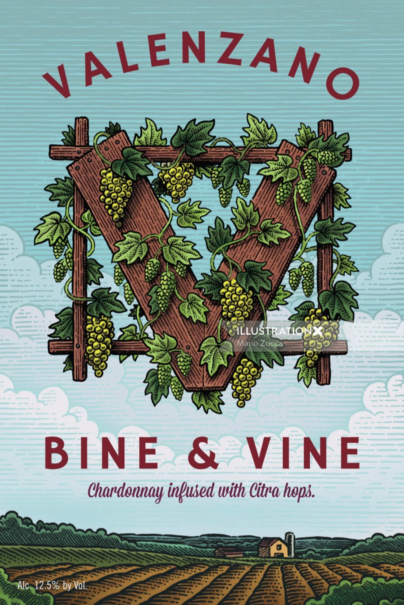 Hand lettering for Valenzano Bine & Vine Label