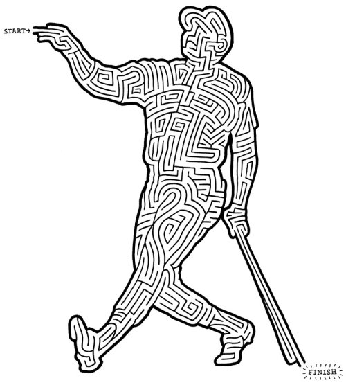 Desenho de linha de jogos de quebra-cabeça