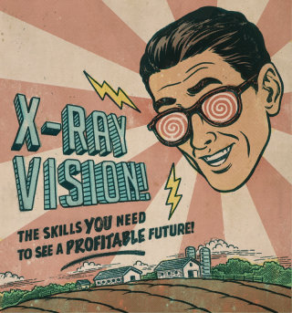 Editorial illustration of man wearing x-ray vision glasses