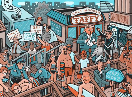 Ilustração do estilo de vida de pessoas de negócios na praia