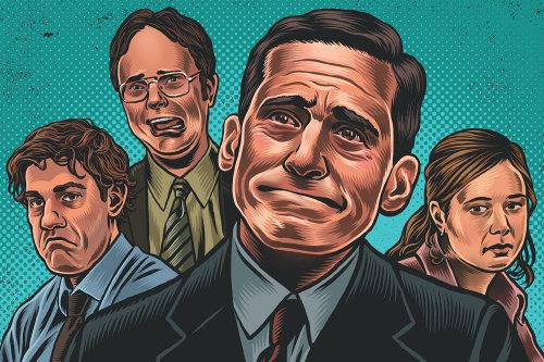 A ilustração do retrato de alguém está feliz no escritório