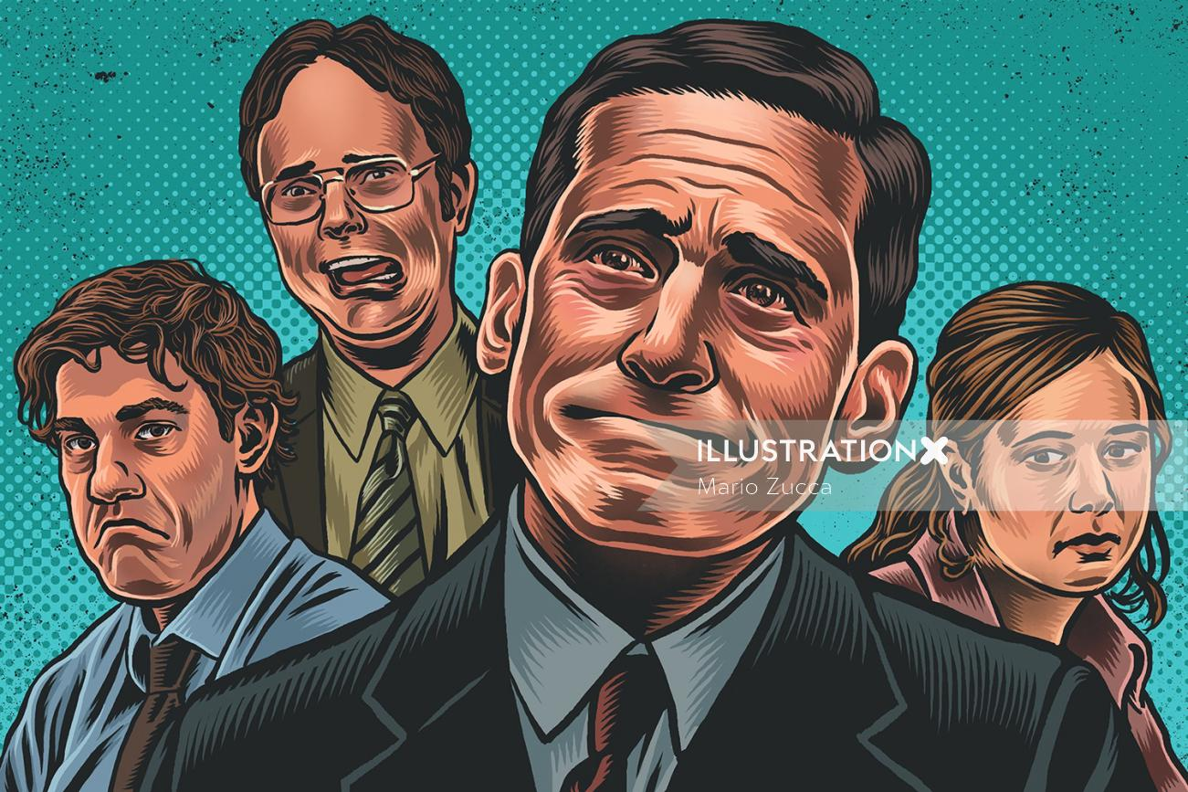 Portrait illustration of is anyone happy on office