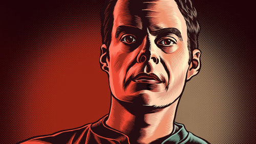 Portrait illustration of Bill Hader
