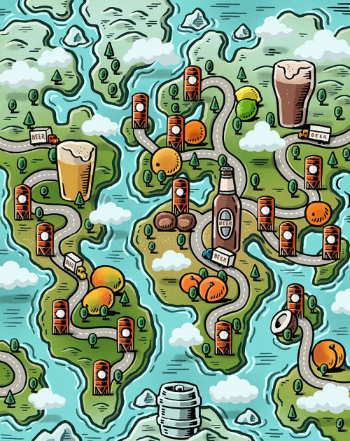 Map illustration of wine factory's
