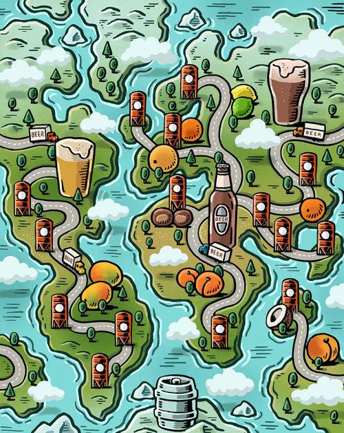 Ilustração do mapa da fábrica de vinho