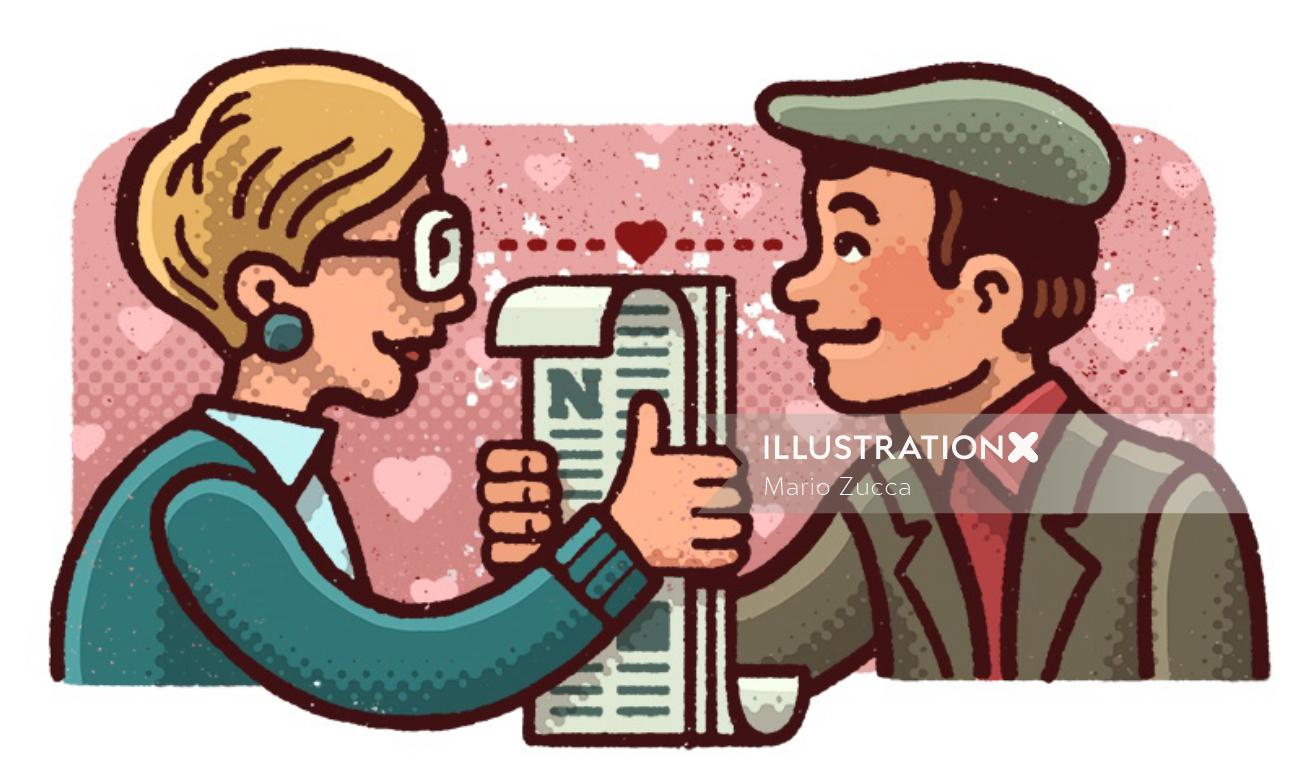 Couple love illustration by Mario Zucca