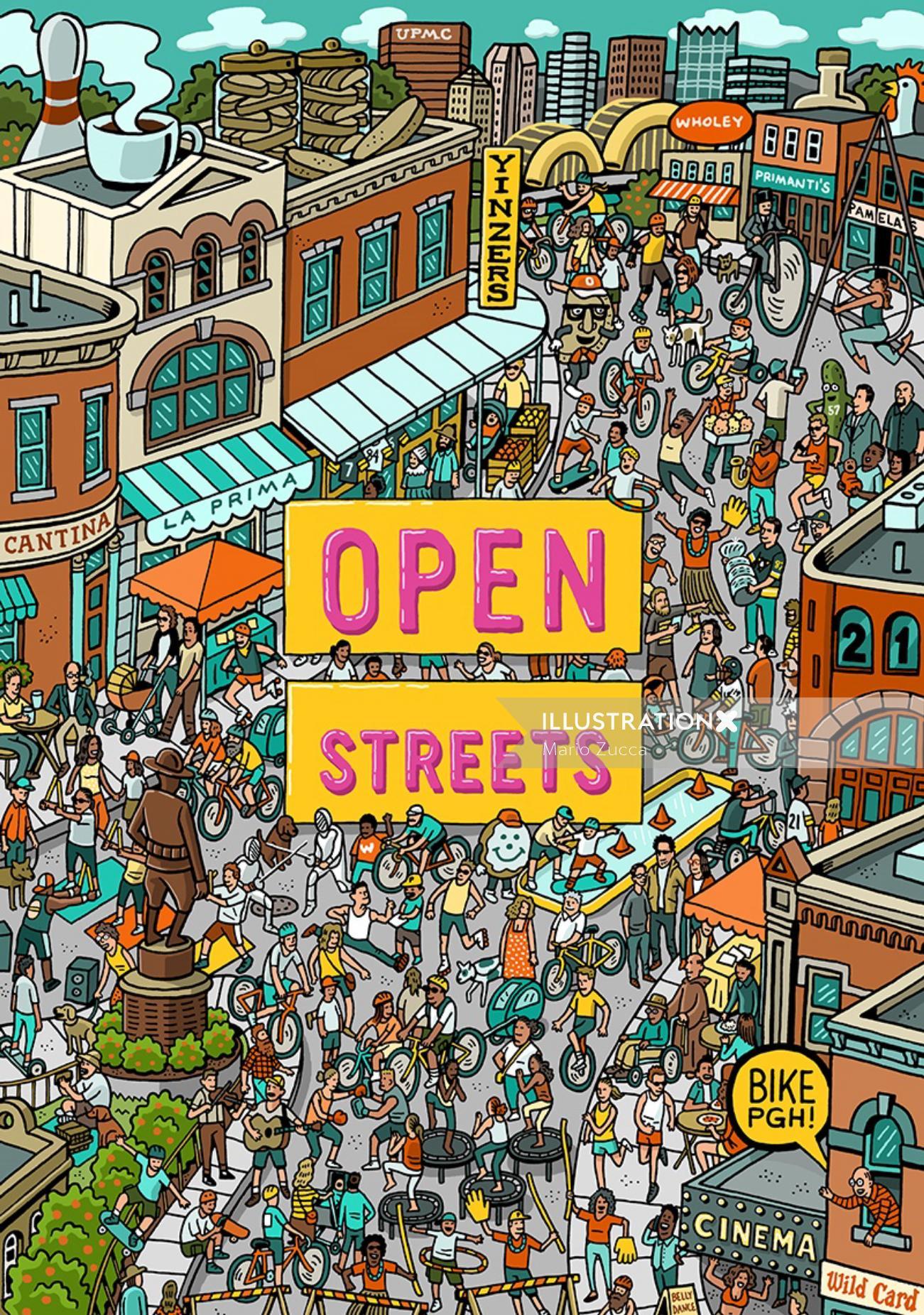Typography art of Open street