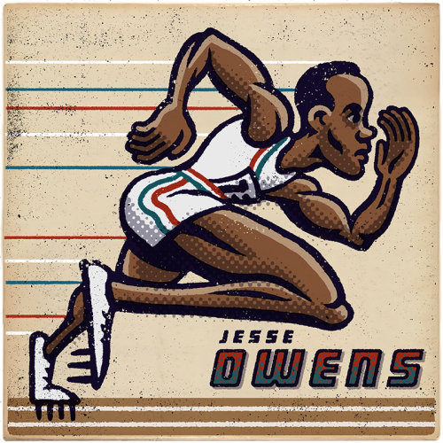 Jesse Owens american athlete illustration