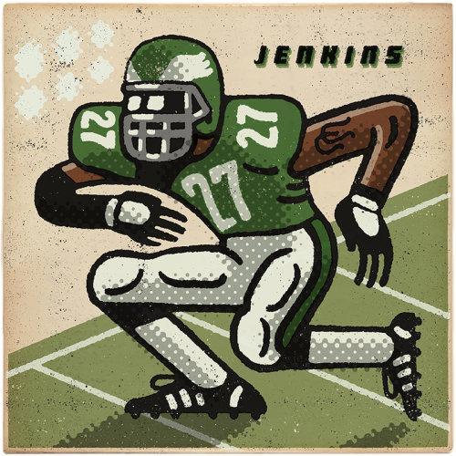 Malcolm Jenkins ilustração de jogador de futebol