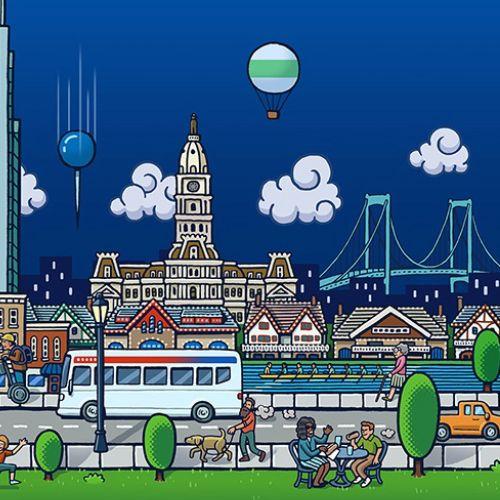 Lifestyle illustration of city people