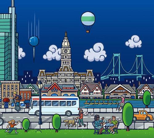 Ilustração do estilo de vida das pessoas da cidade