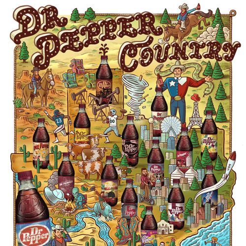 Graphic design of Dr Pepper Country