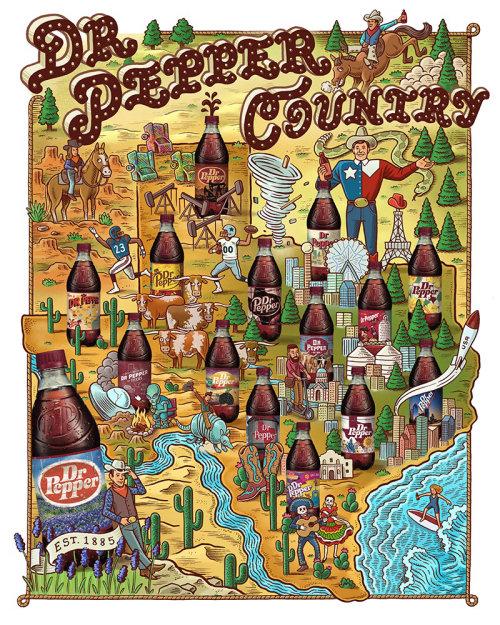 Design gráfico do Dr. Pepper Country