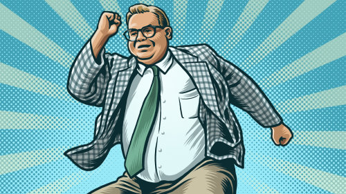 Animation of Chris Farley as motivational speaker Matt Foley