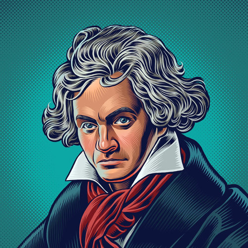 Ilustração de retrato de Beethoven