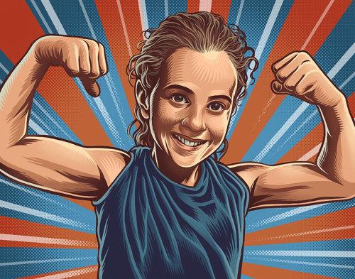 Ilustração de retrato de construtor de corpo de mulheres