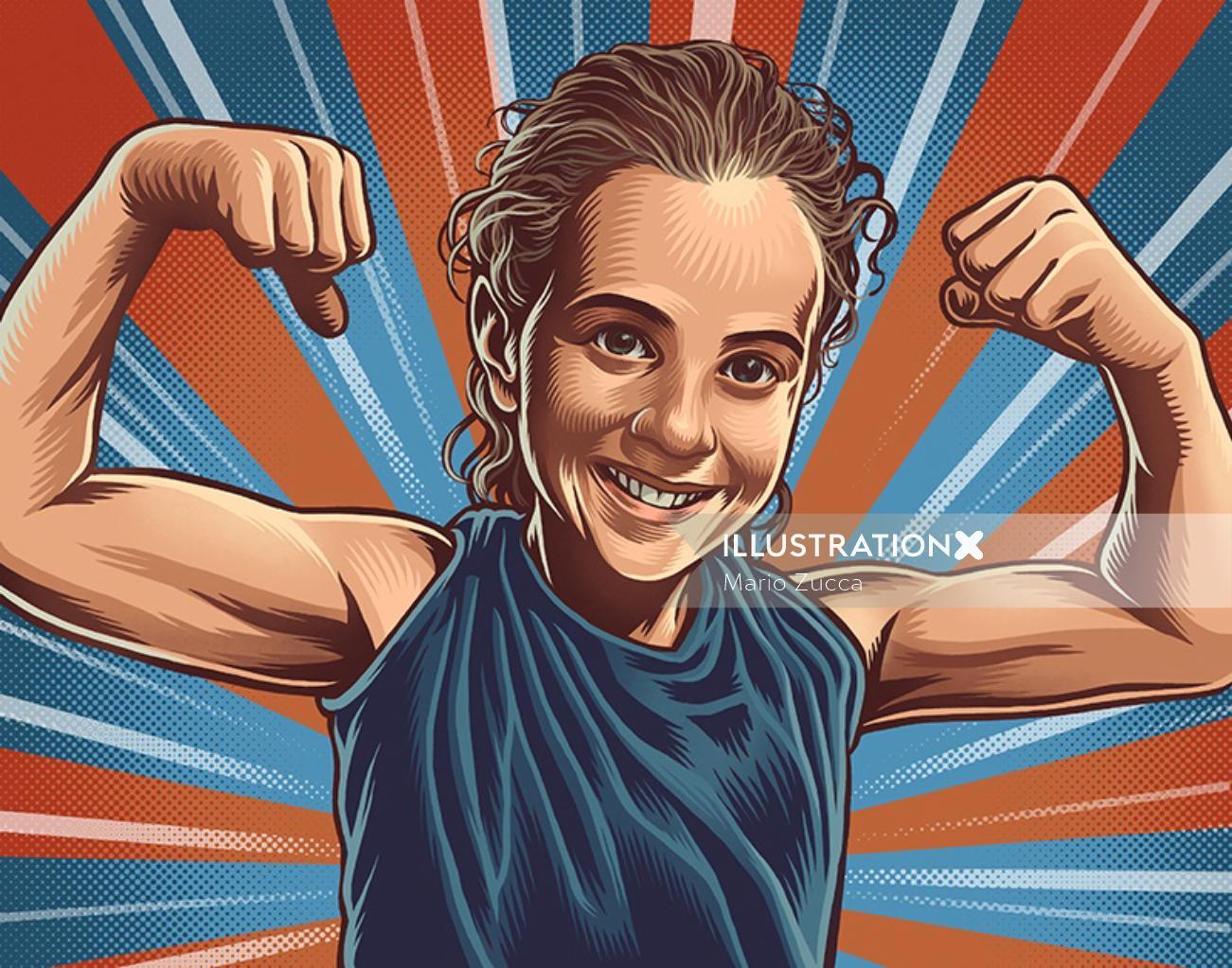 Women body builder portrait illustration