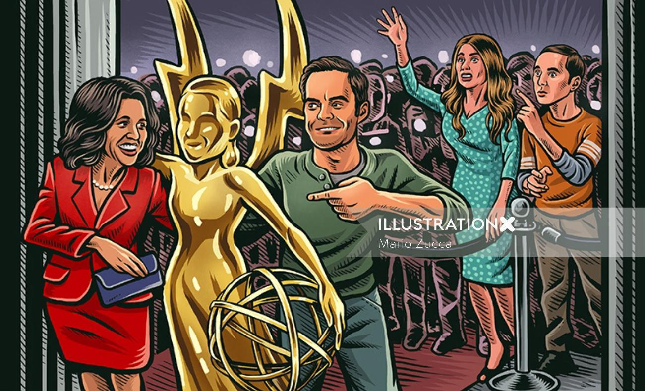 Digital painting of Emmys party