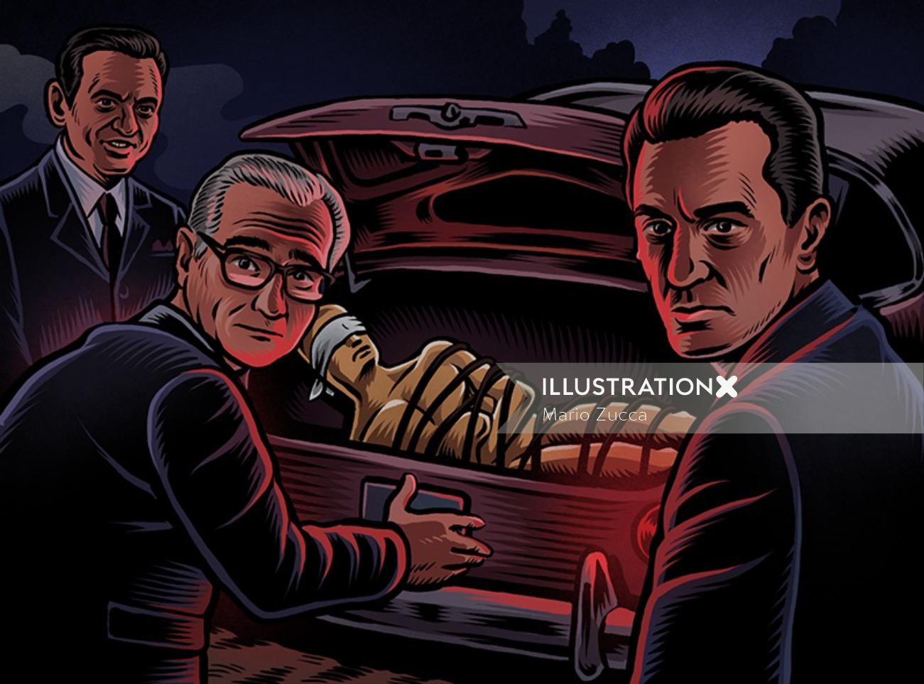 Kidnappers portrait illustration
