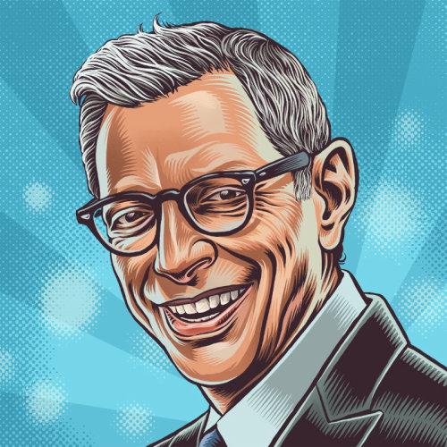 Ilustração de retrato de Jeff Goldblum