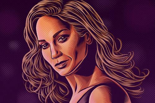 Ilustração do retrato de Jennifer lopez