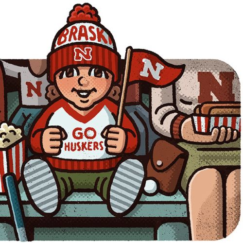 Editorial illustration of Nebraska Cornhuskers football