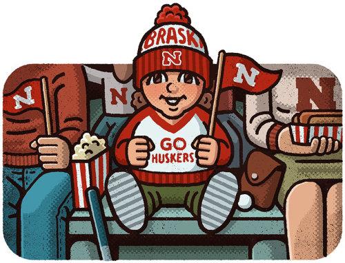 Ilustração editorial do futebol de Nebraska Cornhuskers
