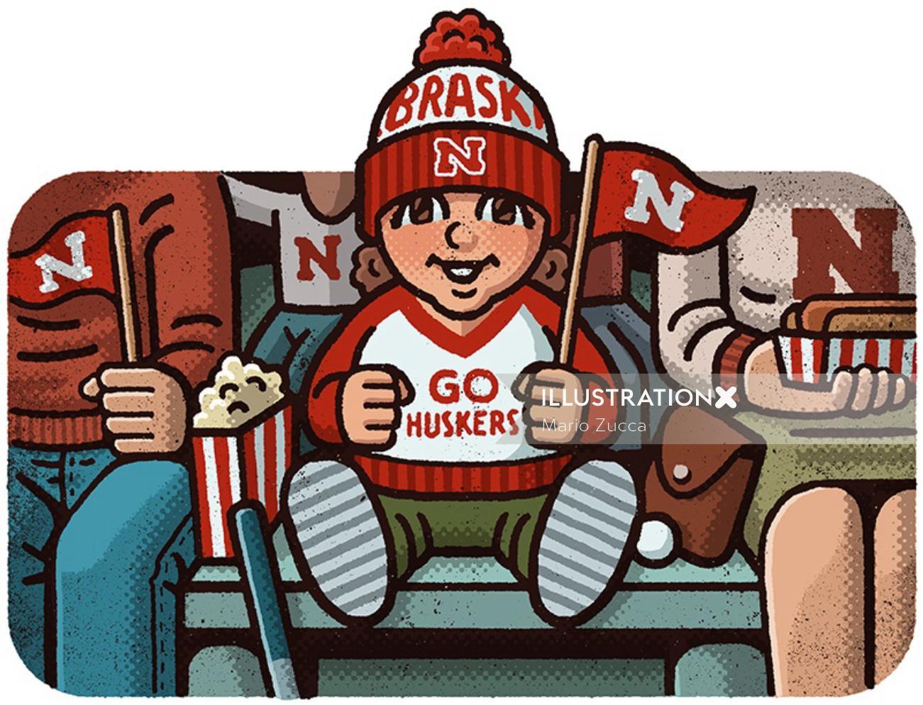 Editorial illustration of Nebraska Cornhuskers football