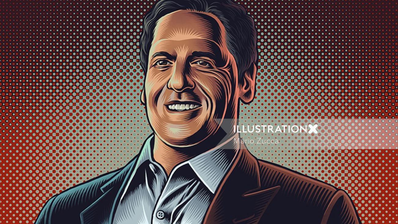 Mark Cuban portrait illustration