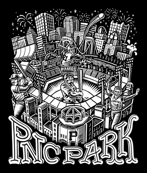 Black and white illustration of Pnc Park