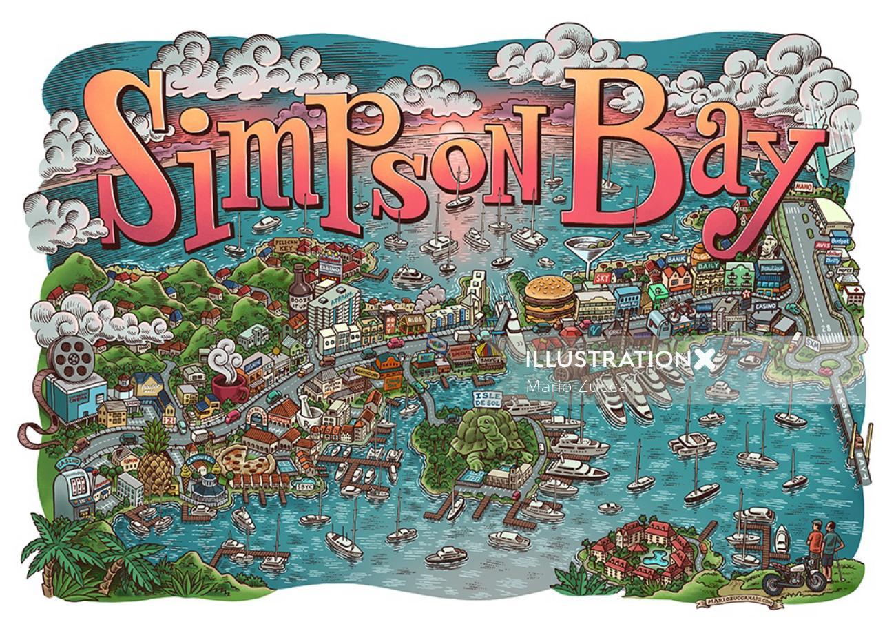 Map Illustration of Simpson Bay