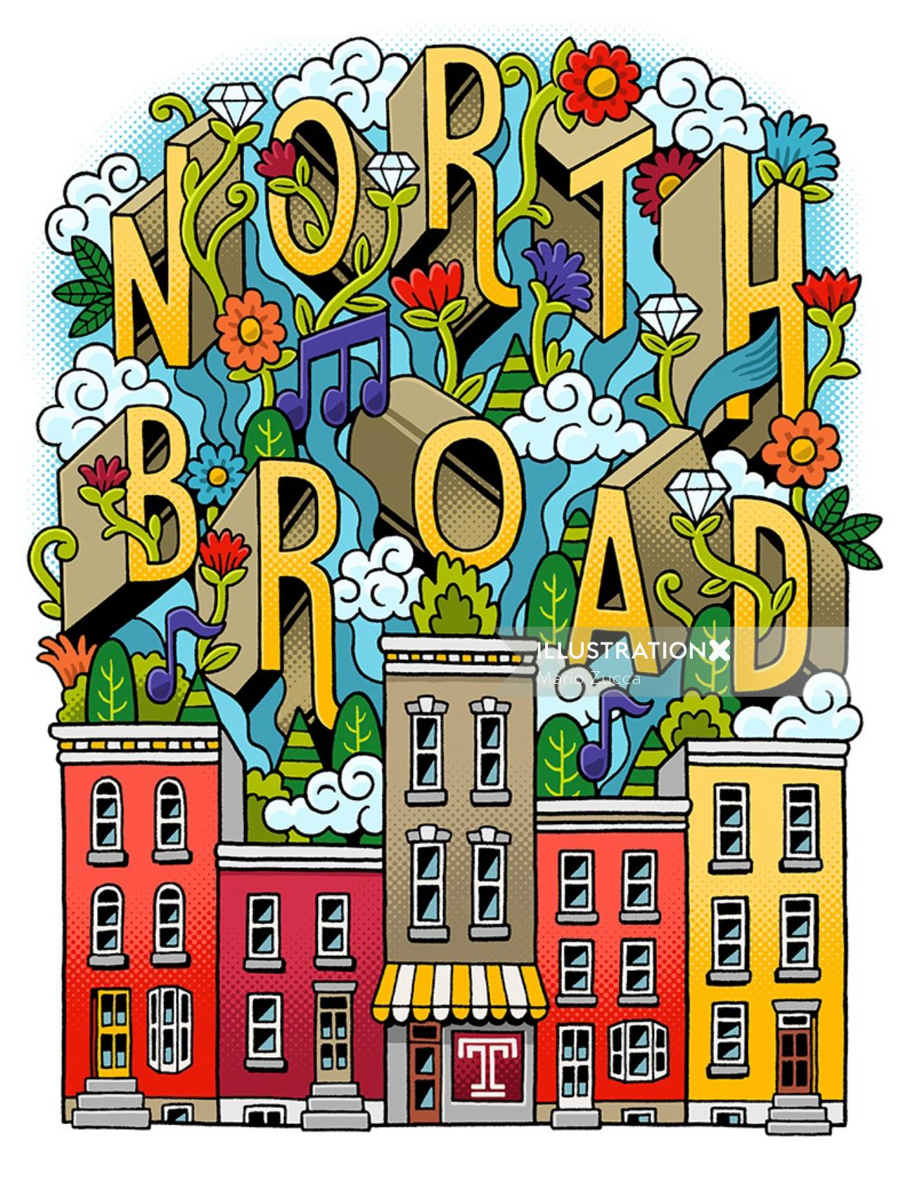 Graphic lettering art of North Board