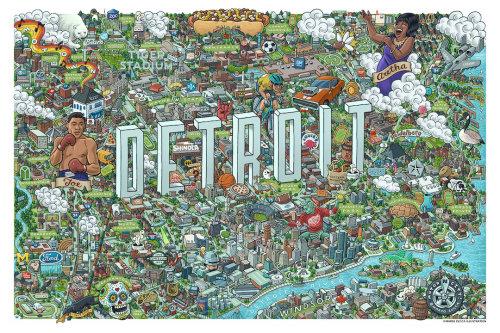 Detroit City map illustration