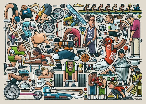 Sports players collage art