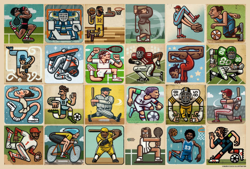 Collage art of Sports players